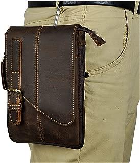 Le'aokuu Men Genuine Leather Hook Messenger Bag Fanny Waist Belt Pack Shoulder Satchel Waist Bag Pack for Daily Life Cycling Hiking