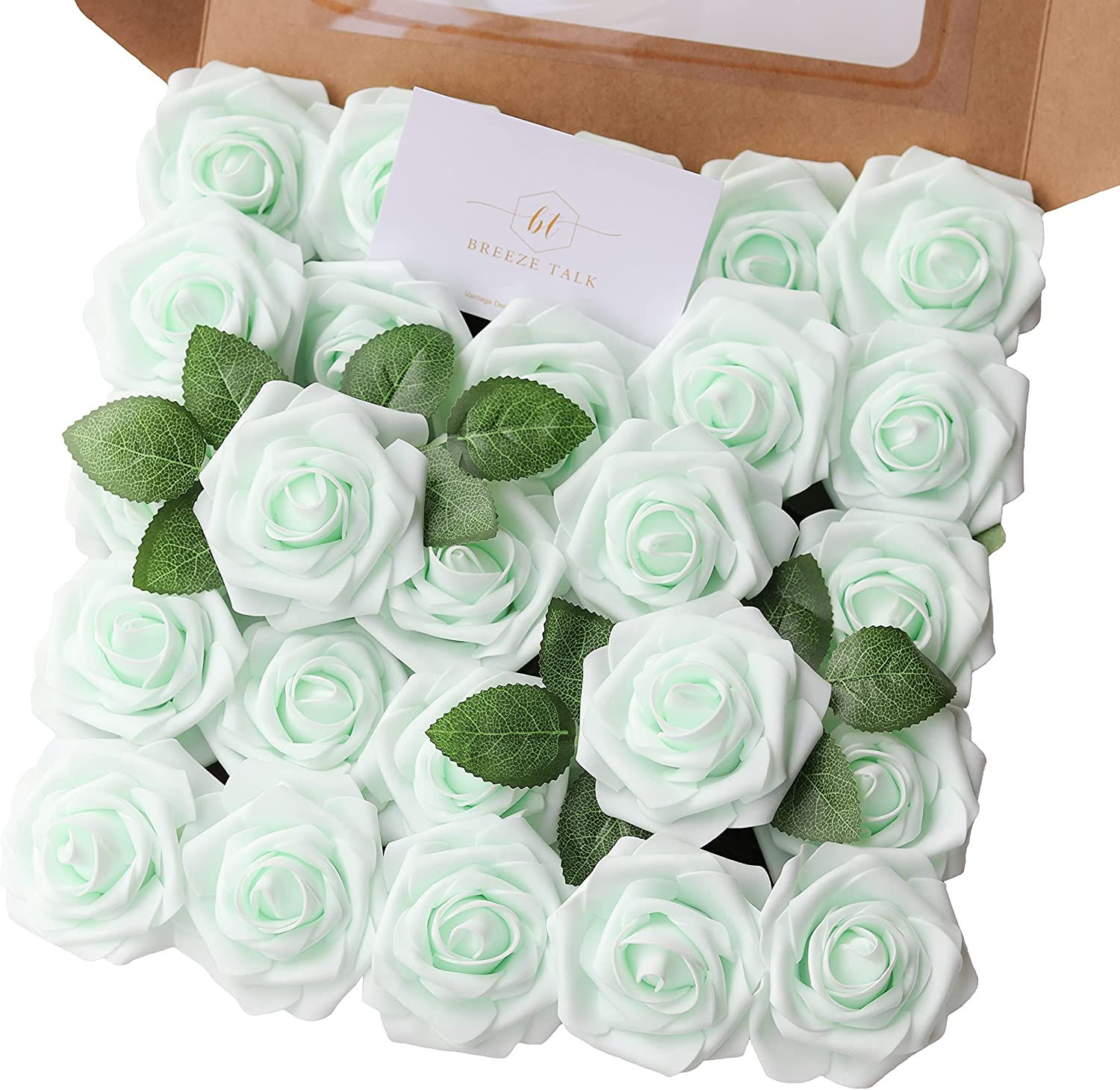 Breeze Talk Artificial Flowers 25pcs Mint Green Roses Realistic Fake Roses w/Stem for DIY Wedding Bouquets Centerpieces Arrangements Party Baby Shower Home Decorations(Mint Green, 25)