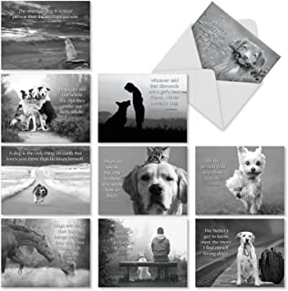 10 Dog All-Occasion Note Cards (With Envelopes) - Assorted Blank Greeting Card 'Canine Comments' - Adorable Dog Photos and Inspirational Quote Notecard - Bulk Animal Thank You Stationery M1623BNsl