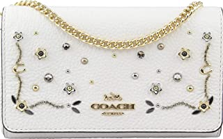 Women's Studded Floral Chain Clutch in Chalk Multi, Style F56272