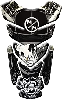 MOTORCYCLE TANK PROTECTOR PAD SKULL METAL - UNIVERSAL - WITH KEYCHAIN