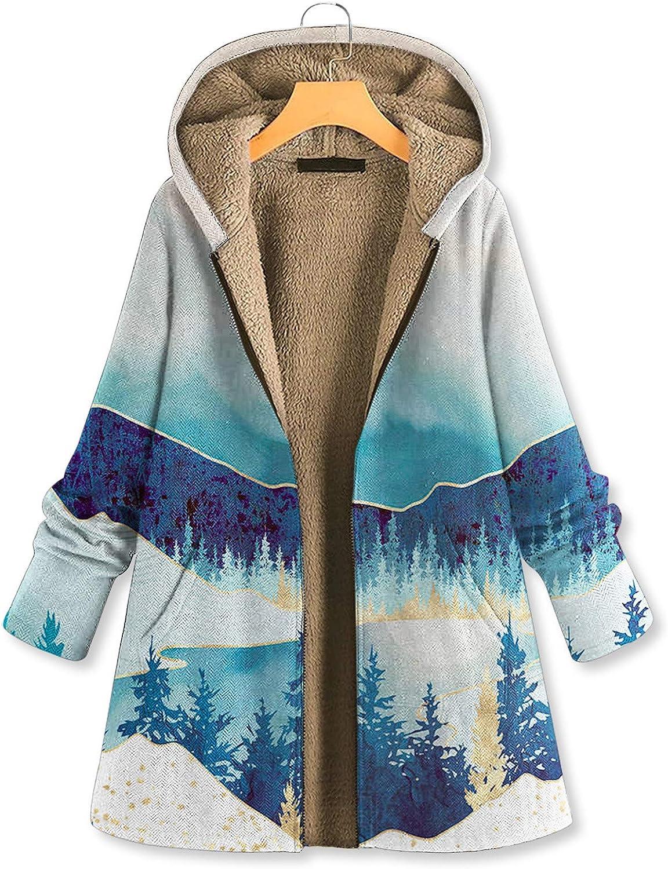 WERVOT Damen Mantel Jacke Herbst Winter Parka Berglandschaft Blumen Gedruckt Langarm Hoodies Zipper Lose Sweatshirt Weiß B