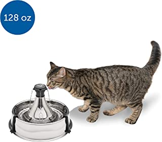 PetSafe Stainless Steel Cat and Dog Water Fountain – Seaside 60 oz or 360 Multi-Pet..