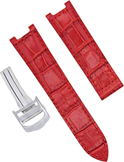 LEATHER WATCH STRAP BAND CLASP FOR CARTIER PASHA GMT WATCH 1032 2113 20MM RED SS