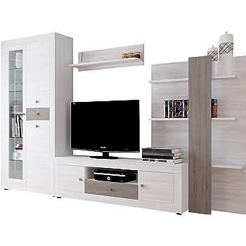 SelectionHome - Mueble Comedor Moderno, salón con Luces Leds, Acabado en Negro Brillo Lacado y Blanco Mate, Medidas: 300 x 189 x 42 cm de Fondo: Amazon.es: Hogar