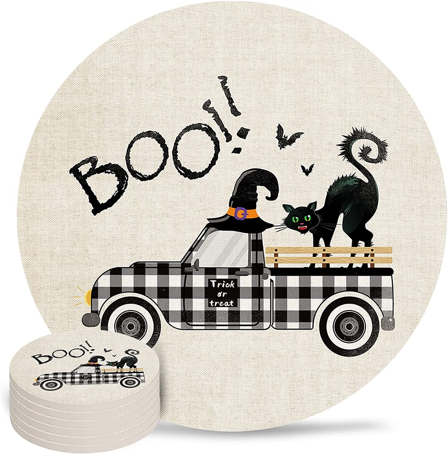 Halloween Coaster for Drinks 4 Drin Pad Super intense SALE Inch Ceramic Ranking TOP15 Absorbent