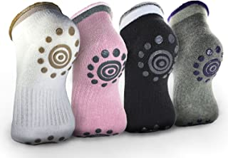Pinaniu Best Non Slip Skid Yoga Pilates Socks with Grips Cotton for Women Cotton 4 pairs