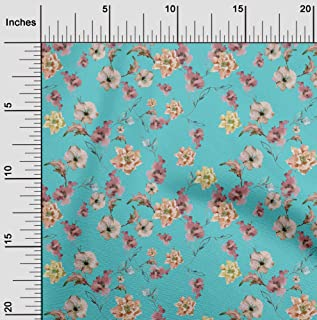 oneOone Polyester Lycra Turquoise Blue Fabric Flower & Leaves Watercolor Sewing Craft Projects Fabric Prints by Yard 56 In...