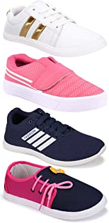 Camfoot Women's (5049-11028-765-9030) Multicolor Casual Sports Running Shoes (Set of 4 Pair)