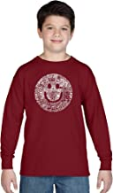 LA POP ART Boy's Long Sleeve Word Art T-Shirt - Smile in Different Languages