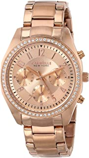Caravelle New York Women's 44L117  Swarovski Crystal Rose Gold Tone Watch
