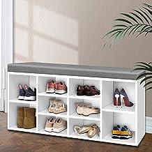 Artiss 10 Pairs Shoe Rack Bench, White