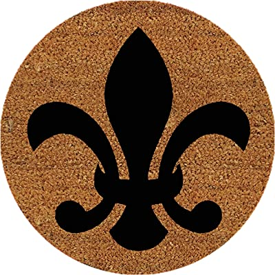 Fleur De Lis, 9 Inch Round Insert for 2' X 3' Doormat, Fits Calloway Mills 160012436 Door Mat