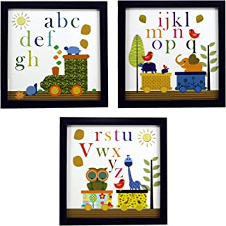 INDIANARA 3 PIECE SET OF ALPHABETS STUDY KIDS ROOM DÉCOR FRAMED WALL HANGING ART PRINTS 8.7 INCH X 8.7 INCH WITHOUT GLASS