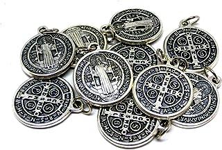 GTBITALY 60.048.30 medaglia di San benedetti con Anello Argento 10 medaglie da 20 mm 2 cm Saint Benedict esorcista esorcismo