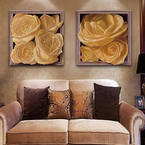 T&Q T&Qing Box Blumen dekoriert Malerei, rahmenlose ZWeiß ende Gem e, Wohnzimmer Restaurant rahmenlose Malerei, 50  50  2
