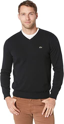 Long Sleeve Half Moon V-Neck Jersey Sweater