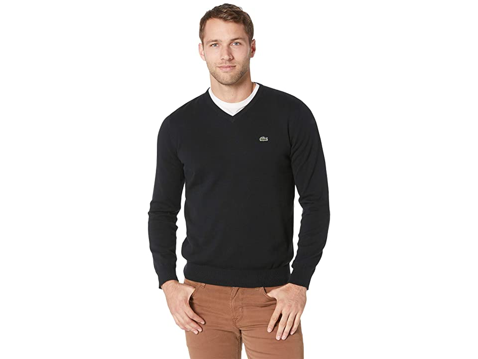 Lacoste Long Sleeve Half Moon V-Neck Jersey Sweater (Black/Flour/Black) Men