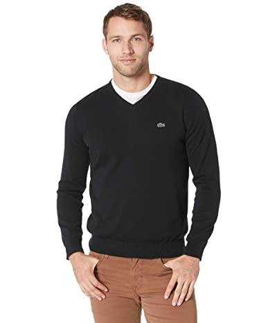 Lacoste Long Sleeve Half Moon V-Neck Jersey Sweater (Black/Flour/Black) Men