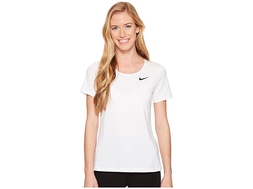 Nike Pro Mesh Short Sleeve Top (White/Black) Women