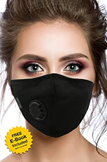 Air Pollution Cotton Face Mask - 4 Carbon Filters and Respirator Valve - Anti-Dust, Smoke, Allergies, Gas, Germs and Flu - Washable and Reusable - Supports Breathing Clean Air - N95 Protection - Black
