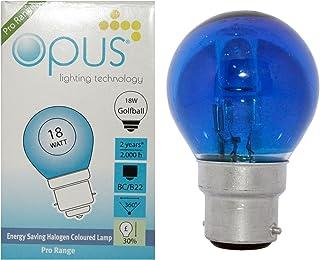 6 x Opus Blue 18W = 25W Coloured Golf Ball Light Bulbs Bc B22 Bayonet Cap