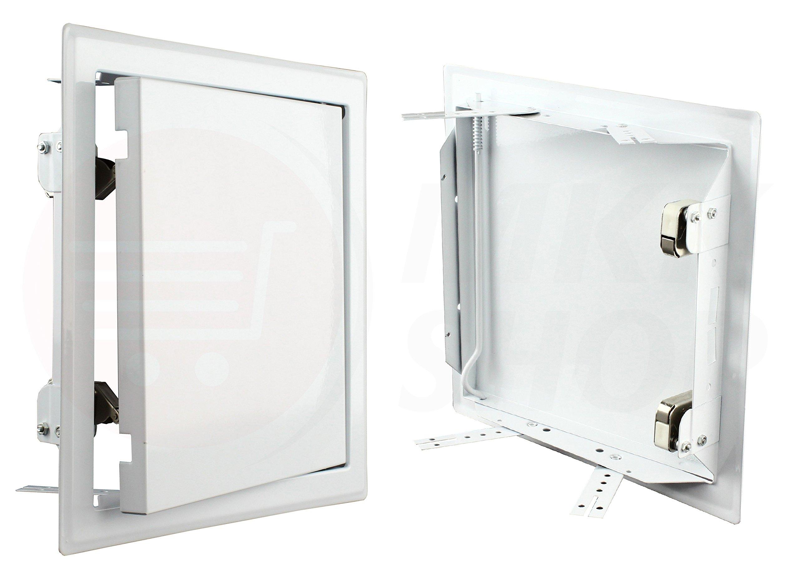 Premium Tapa para revisión metal blanco con impresión cierre pladur azulejos Puerta Mantenimiento para puerta Muro ancla Lavado Tapa Mantenimiento Apertura limpiador para puerta de inspección Mantenimiento Tapa polvo en diferentes tamaños,