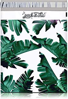 "Pack It Chic - 10"" X 13"" (100 Pack) Tropical Leaves Poly Mailer Envelope Plastic Custom Mailing & Shipping Bags - Self Seal (More Designs Available)"