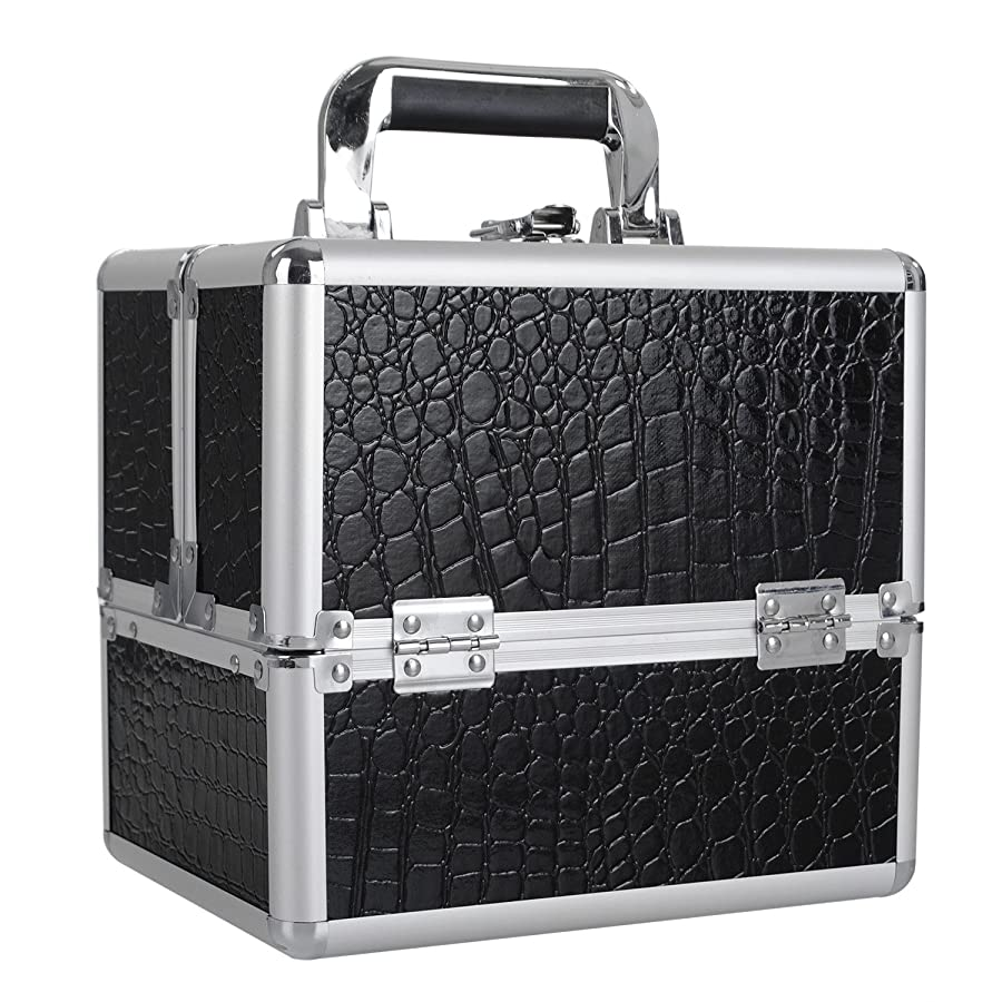 [プロ仕様]Hapilife メイクボックス 大容量 4つトレイ 可動仕切り付き 幅25cm 中型 ネイルグッズ 化粧品 メイク道具 収納ボックス ブラック