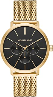 Michael Kors Men's Blake Quartz Watch with Stainless-Steel-Plated Strap, Gold, 20 (Model: MK8690)