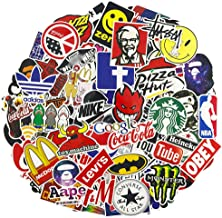 Brand Logo Laptop Stickers, Water Bottle Travel Case Computer Wall Skateboard Motorcycle Phone Bicycle Luggage Guitar Bike Stickers Decal 100Pcs Pack