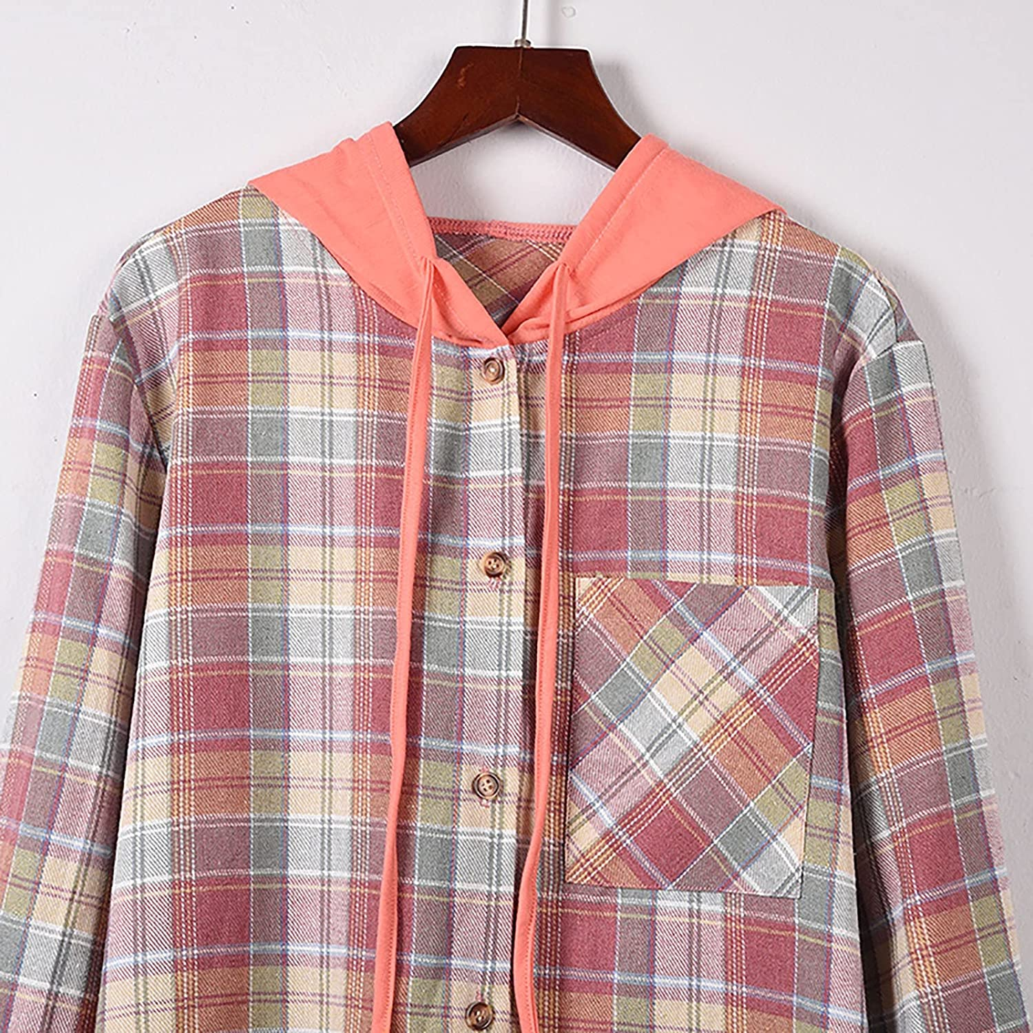 Women's Long Sleeves Open Front Plaid Drawstring Cardigan Coat with Pockets Ladys Color Block Striped Casual Buttons Outwear