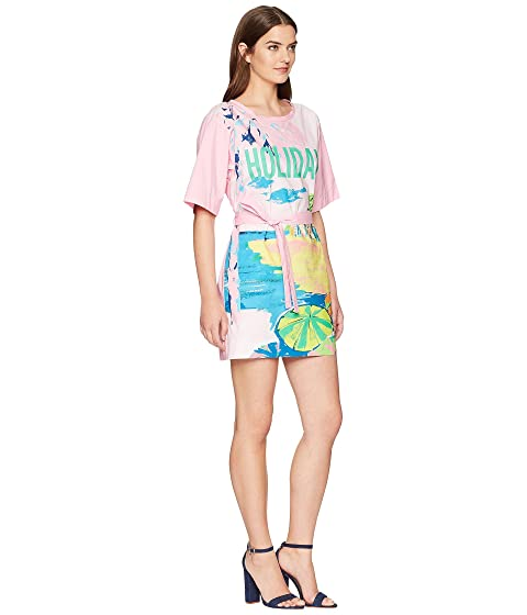Boutique Moschino Landscape Print T-Shirt Dress with Tie Belt Fantasy Print Violet Popular Cheap Price Collections Cheap Price Sale Ebay Outlet Extremely Buy Cheap Finishline TCrfZ