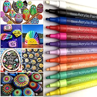 Premify Paint Pens Acrylic Markers Set (12-Color) For Rock Painting, Glass, Wood, Ceramic, Fabric, Paper, stones, Mugs, Ca...
