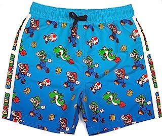 Super Mario Swim Shorts for Boys | Kids Mario Luigi Swimming Trunks Pants | Drawstring Waistband Blue Gamer Merchandise Gifts