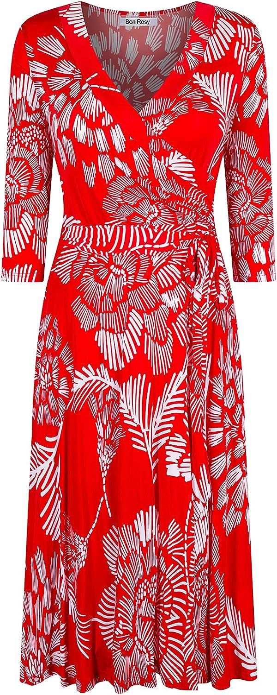 Bon Rosy Women's #MadeInUSA 3/4 Sleeve Faux Wrap Midi Dress Knee Length