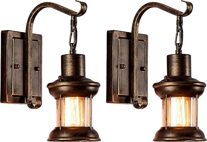 156 opinioni per Applique di vetro 2 Pezzi, Lampada da parete rustica del metallo della parete