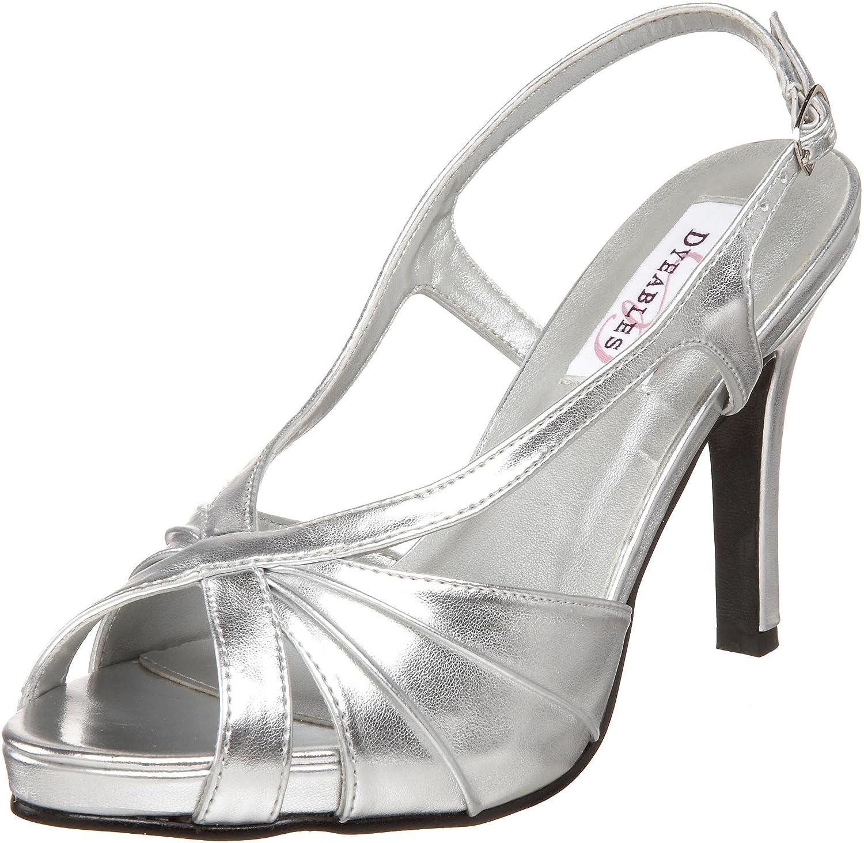 Dyeables Women's Aliyah Slingback Platform Sandal Silver Metallic