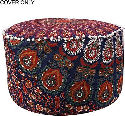 GANESHAM Indian Mandala Pouf Ottoman Cotton Floor Pillow Hippie Boho Decorative Home Decor Footstool Cover Bohemian (Blue & Orange)