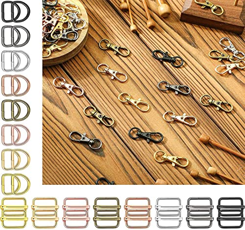 DIY Crafts 1 inch Round Swivel Snap Hooks and Round Rings Metal Swivel Lanyard Snap Round Hook Slide Buckle for Bags Wallets Luggage Supplies 1 inch 1 Pc Swivel Snap D Hooks Grey Black