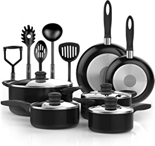 Premium 15 Piece Cookware Set Nonstick Coating with non toxic PTFE and PFOA free aluminum BPA Free High Heat Resistance