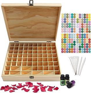 Songlela Boîte de Rangement en Bois pour Huiles Essentielles, Boîte d'Huile Aromathérapie de Stockage Organisateur pour 74...