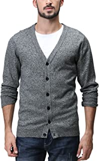 Matchstick Men's Button Through V Neck Knitted Cardigan #Z1522(Dark Heather Gray,UK XS (Asian tag Size M))