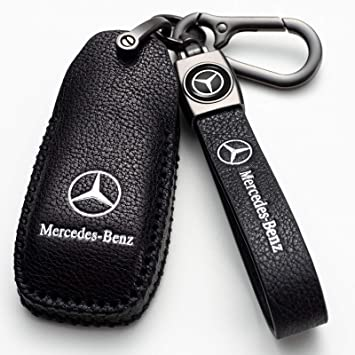 2018 up S Class RARLON Leather Mercedes Benz Key Fob Cover with Keychain Car Key Case Protection Suit for Mercedes Benz E Class 2017 2018 W213 Smart Key Fob Case Key Holder