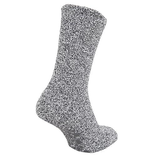 401640c0703 FLOSO Mens Warm Slipper Socks with Rubber Non Slip Grip