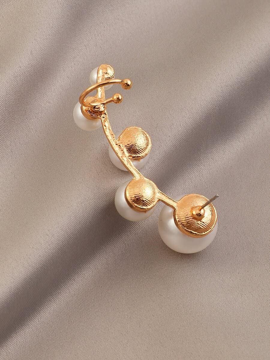ZHCHL Hoop Earrings Faux Pearl Decor Ear Cuff (Color : White)
