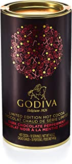 Godiva Chocolatier Peppermint Hot Cocoa Powder Canister, Holiday Collection, Limited Edition, 14.4 Ounce