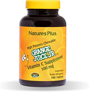 NaturesPlus Orange Juice Junior Chewable Vitamin C - 100 mg, 180 Vegetarian Tablets - Immune Support Supplement, Antioxida...