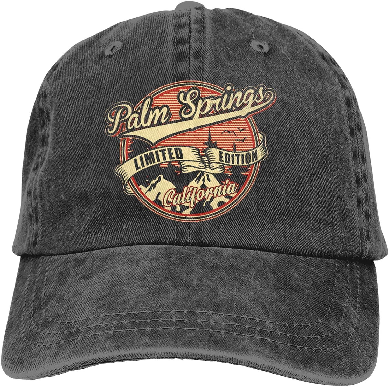 I Love Palm Springs California Denim Baseball Cap, Retro Washed Adjustable Dad Hats