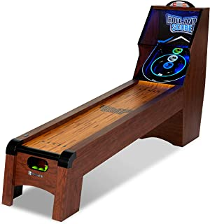 Ready AIM and Throw! Have Loeads of Fun 9 Ft. Roll and Score Table, Arcade Game, Includes 4 Skee-Ball, Electronic Board Scorer Great Sound Effects LED Light - Perfect for Family, Game Nights